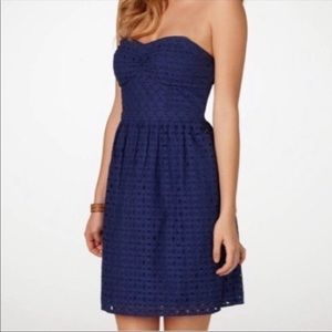 American Eagle | Strapless Blue Eyelet Dress | 4